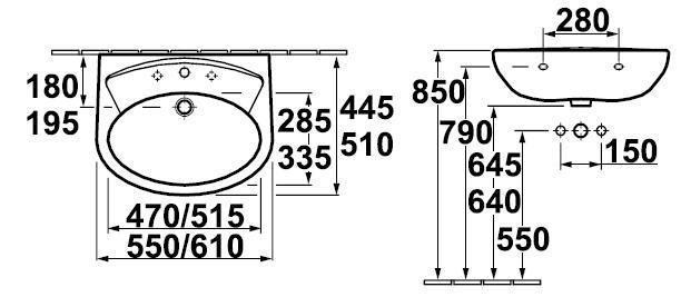 Umyvadlo 61x51cm Gustavsberg SAVAL 60, bílá 1