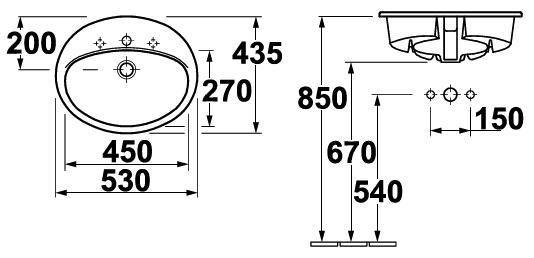 Umyvadlo zápustné 53x43,5cm Gustavsberg SAVAL bílá 0