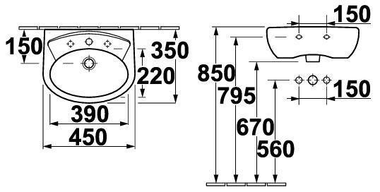 Umyvadlo 51x40,5cm Gustavsberg SAVAL 50, bílá 1