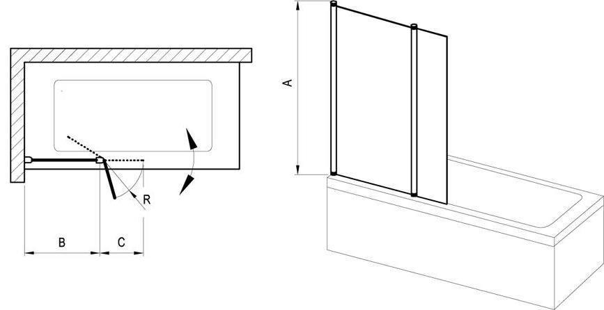 Vanová zástěna dvoudílná CVS2-100 R Transparent Ravak CHROME pravá, lesk 2