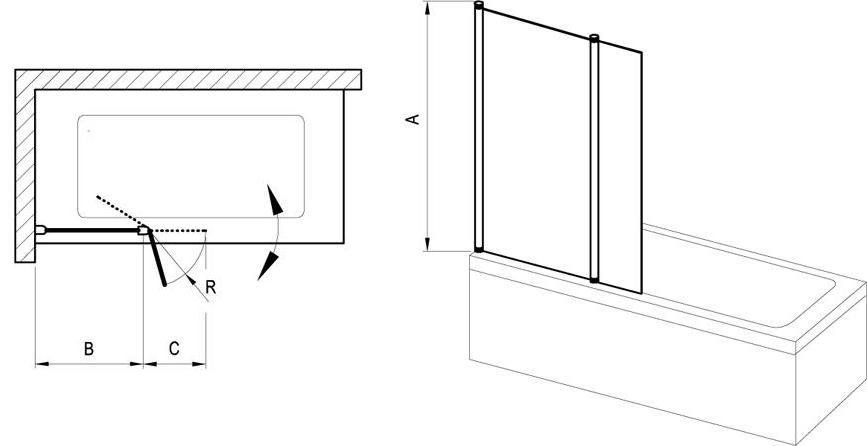 Vanová zástěna dvoudílná CVS2-100 R Transparent Ravak CHROME pravá, satin 2
