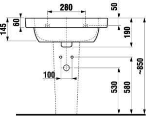 Umyvadlo 55 cm DEEP By Jika s otvorem pro baterii, bílá 2