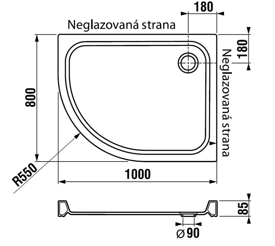 Sprchová vanička asymetrická čtvrtkruh 100 x 80 cm Jika TIGO pravá, bílá 0