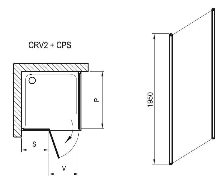 Sprchová pevná stěna CPS-100 Transparent Ravak CHROME, satin 2