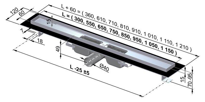APZ101-550 Podlahový nerezový žlab snížený AlcaPlast s okrajem 2