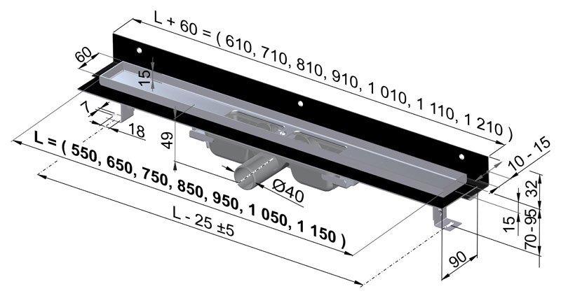 APZ104-950 Flexible Low Podlahový nerezový žlab AlcaPlast pod libovolný obklad