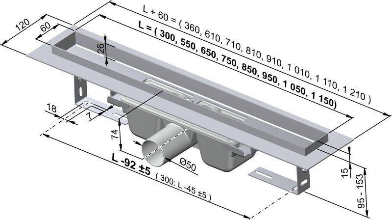 APZ6-750 podlahový nerezový žlab AlcaPlast 800 mm s okrajem 1