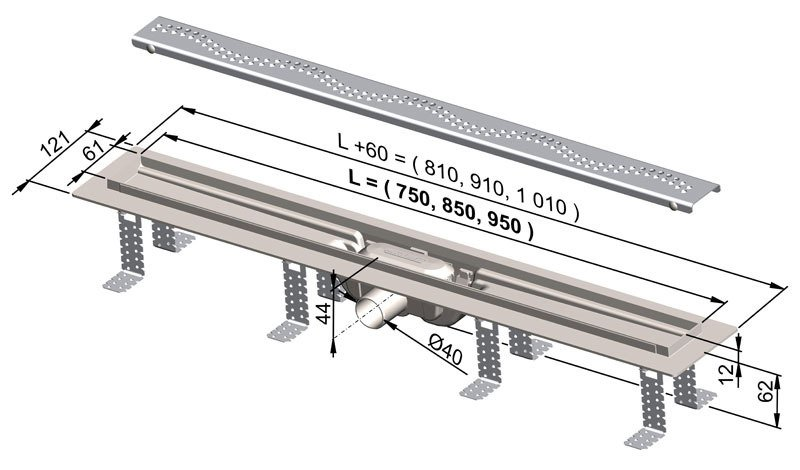 APZ8-750 Simple podlahový plastový žlab AlcaPlast 800 mm 1