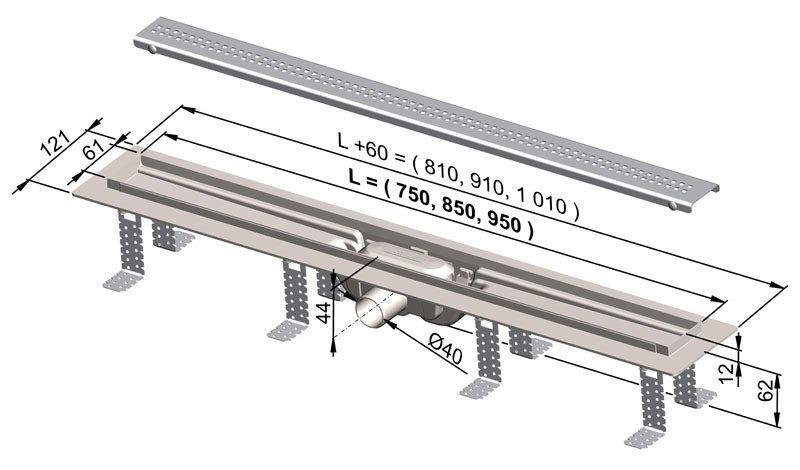 APZ9-750 Simple podlahový plastový žlab AlcaPlast 800 mm 1