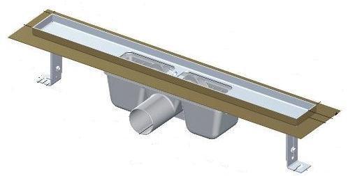 Podlahový žlab nerez 1100 mm APZ1-1050 AlcaPlast, s okrajem 1