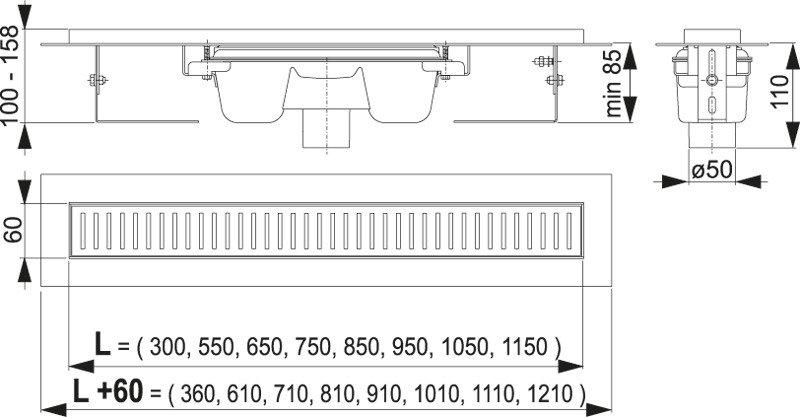 Podlahový žlab AlcaPlast APZ1001-1150 s okrajem, pro perforovaný rošt, svislý odtok 2