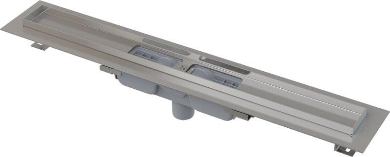 Podlahový žlab APZ1101-650 LOW AlcaPlast, okraj pro perf. rošt, svislý odtok 0