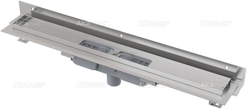 Podlahový žlab APZ1104-750 FLEXIBLE LOW AlcaPlast, okraj pro rošt, límec ke stěně, svislý odtok 1