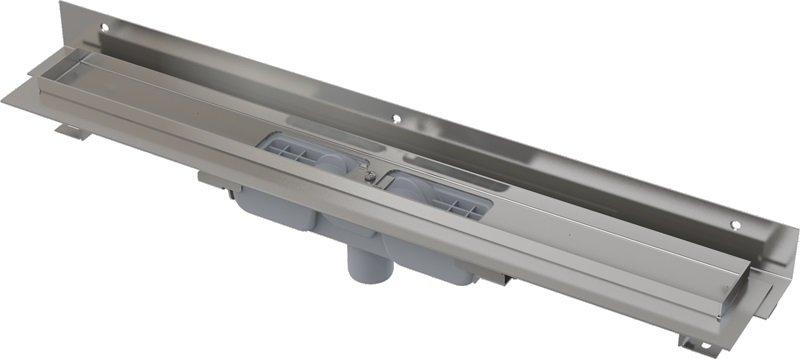Podlahový žlab APZ1104-750 FLEXIBLE LOW AlcaPlast, okraj pro rošt, límec ke stěně, svislý odtok 0