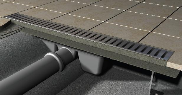 Podlahový žlab nerez 300 mm APZ1-300 MINI AlcaPlast, s okrajem 1