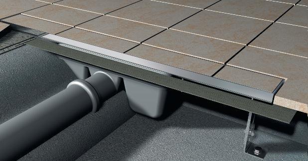 APZ3-FLOOR-300 podlahový nerezový žlab AlcaPlast MINI pro vložení dlažby 1