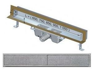 APZ5-TWIN-650 podlahový nerezový žlab AlcaPlast SPA kryt TWIN 700 mm bez okraje pro dlažbu 1