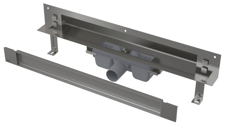 APZ5-TWIN-850 podlahový nerezový žlab AlcaPlast SPA kryt TWIN 900 mm bez okraje pro dlažbu