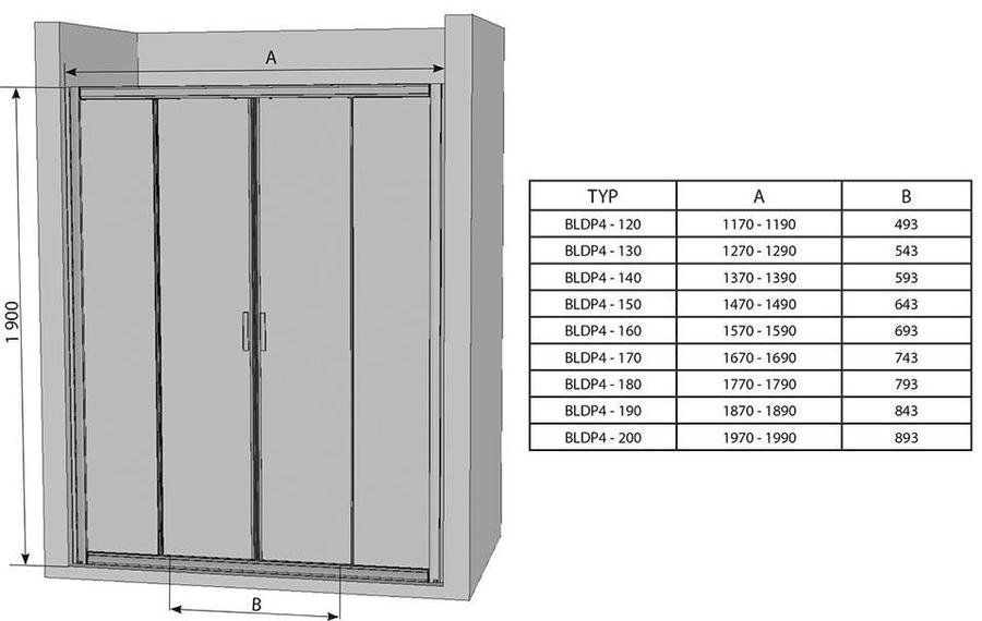 Sprchové dveře posuvné čtyřdílné BLDP4-190 Transparent Ravak BLIX, lesk 2