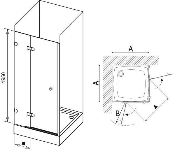 Sprchové dveře dvojdílné BSD2-90 A-L Ravak BRILLIANT, neobsahuje B-Set, chrom 2