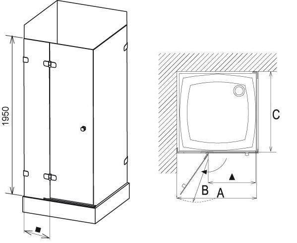 Sprchové dveře dvojdílné s pevnou stěnou BSDPS-110/80 R Ravak BRILLIANT, neobsahuje B-Set, chrom 2