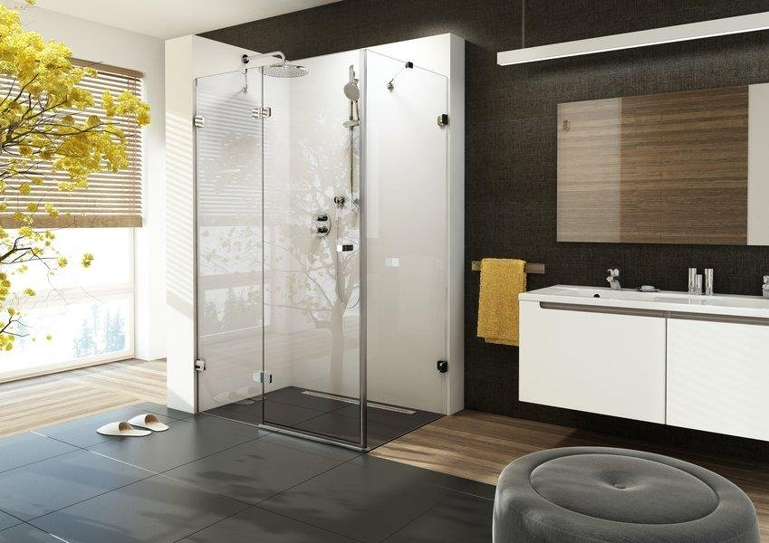 Sprchové dveře dvojdílné s pevnou stěnou BSDPS-110/80 L Ravak BRILLIANT, neobsahuje B-Set, chrom 4