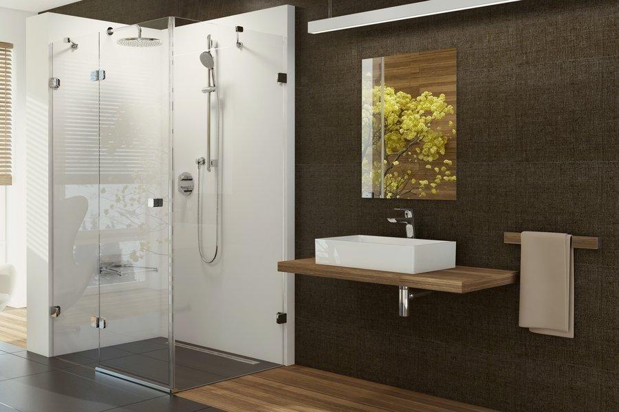 Sprchové dveře dvojdílné s pevnou stěnou BSDPS-110/80 L Ravak BRILLIANT, neobsahuje B-Set, chrom 0