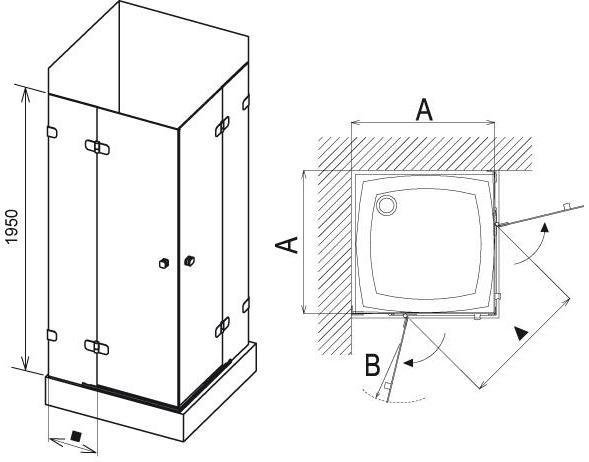 Sprchový kout rohový čtyřdílný BSRV4-90 Ravak BRILLIANT, neobsahuje B-Set, chrom 2