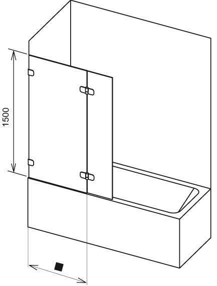Vanová zástěna dvoudílná BVS2-100 R Transparent Ravak BRILLIANT, chrom 2