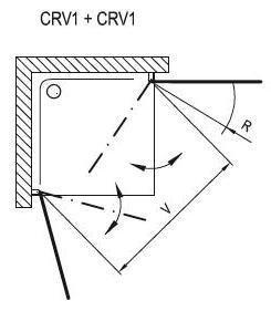 Sprchové dveře CRV1-80 se vstupem z rohu Transparent Ravak CHROME, satin 2