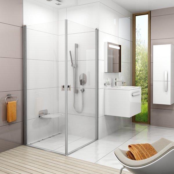 Sprchové dveře CRV1-80 se vstupem z rohu Transparent Ravak CHROME, satin 0