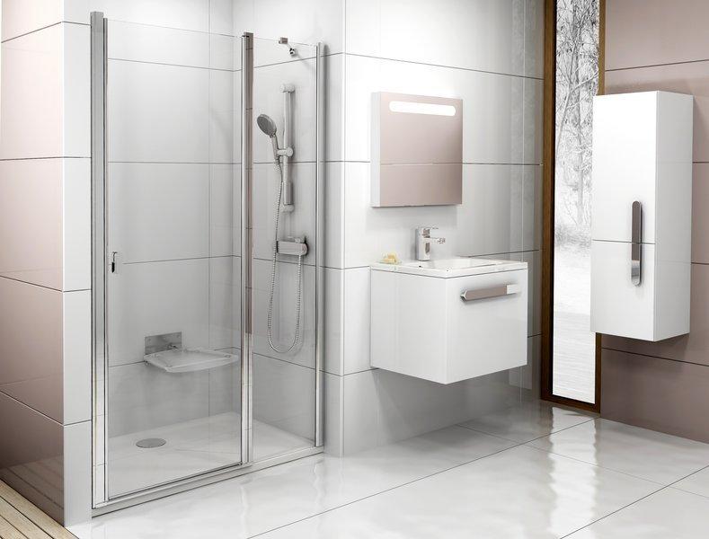 Sprchové dveře dvoudílné CSD2-110 s pevnou stěnou Ravak CHROME 0