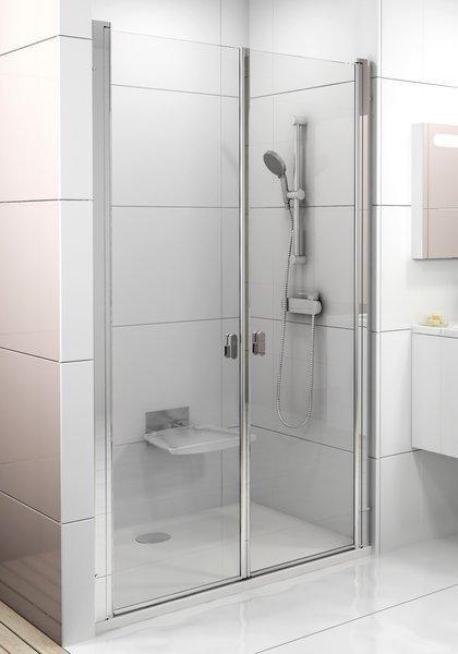 Sprchové dveře dvoudílné CSDL2-120 Transparent Ravak CHROME, bílá 1
