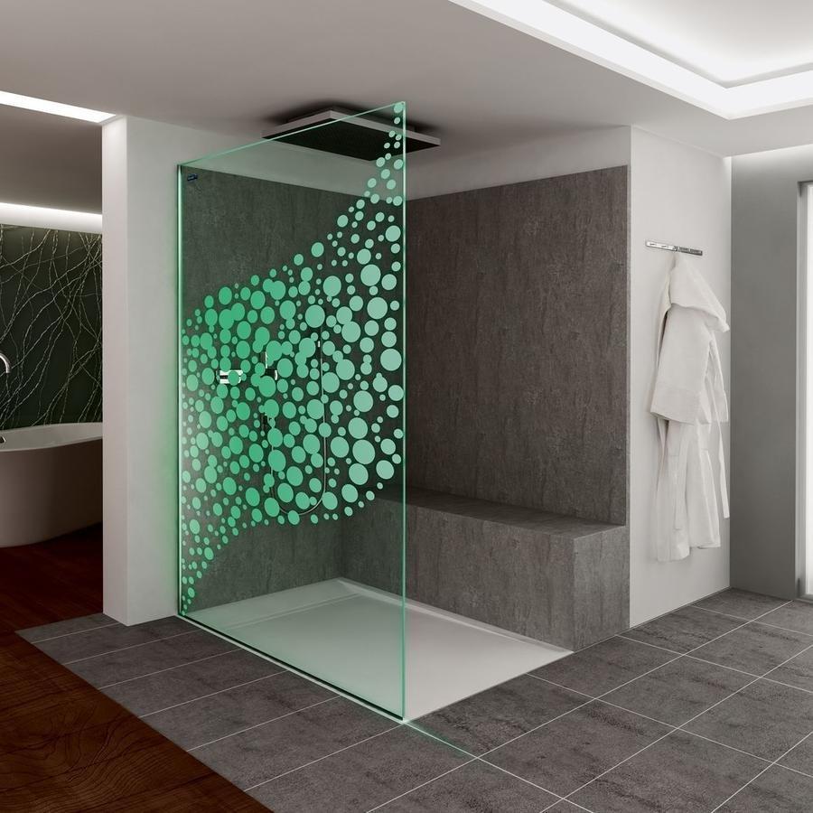 Duscholux Dlight Air stěna, vzor Walk-in bubliny vč. LED-světelné lišty, vpravo 1