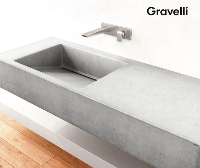 Gravelli umyvadlo SLANT 01 SINGLE šedá 120x45x13cm 3