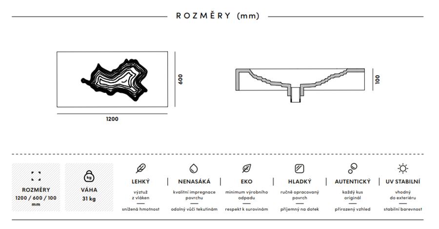 Gravelli umyvadlo MAP antracit 120x60x10cm 3