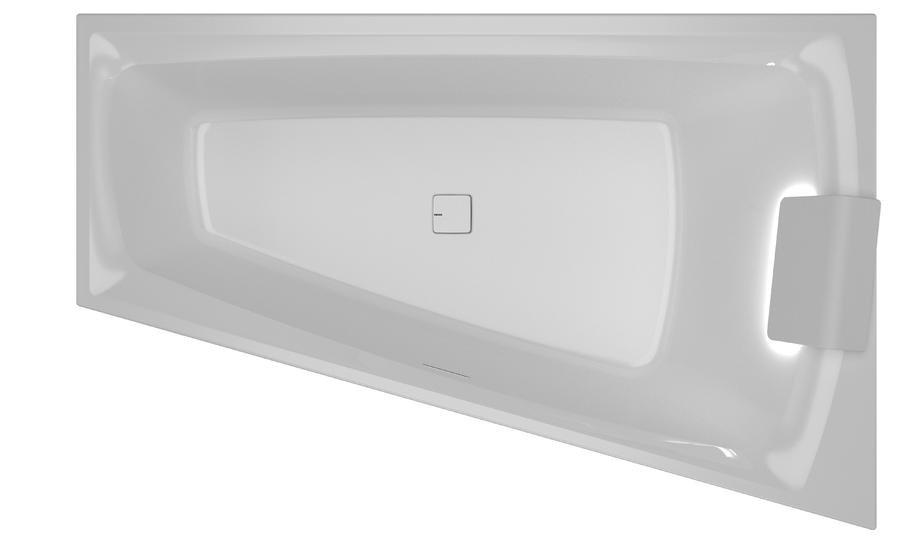 Vana asymetrická Riho STILL SMART LED L 170x110, bílá 1