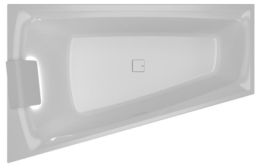 Vana asymetrická Riho STILL SMART LED R 170x110, bílá 1