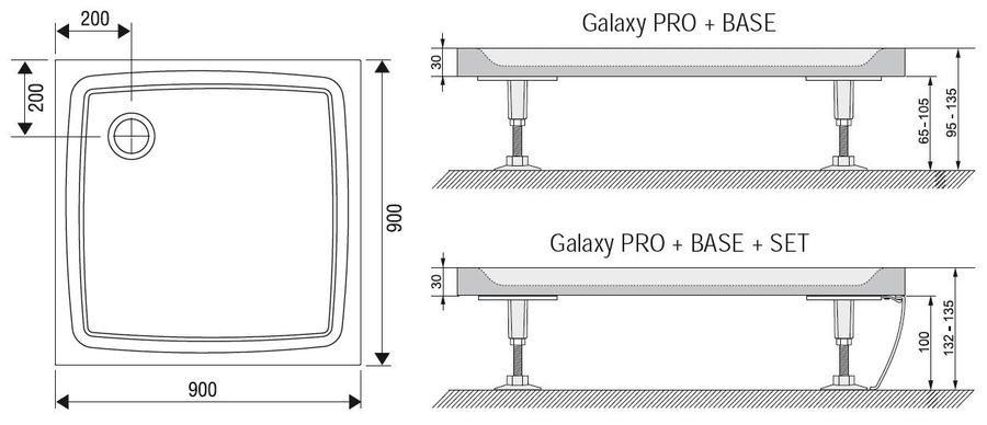 Sprchová vanička litá PERSEUS PRO-90 Flat Ravak GALAXY PRO, bílá