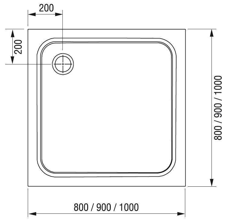 Sprchová vanička čtvercová PERSEUS PRO-90 Ravak CHROME, bílá