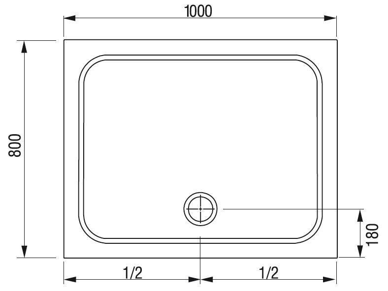 Sprchová vanička obdélníková GIGANT PRO 100 x 80 Ravak CHROME, bílá 2