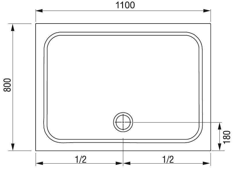 Sprchová vanička obdélníková GIGANT PRO 110 x 80 Ravak CHROME, bílá 2