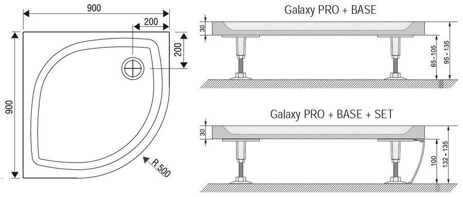 Sprchová vanička litá ELIPSO PRO-90 Flat Ravak Galaxy Pro, bílá 2