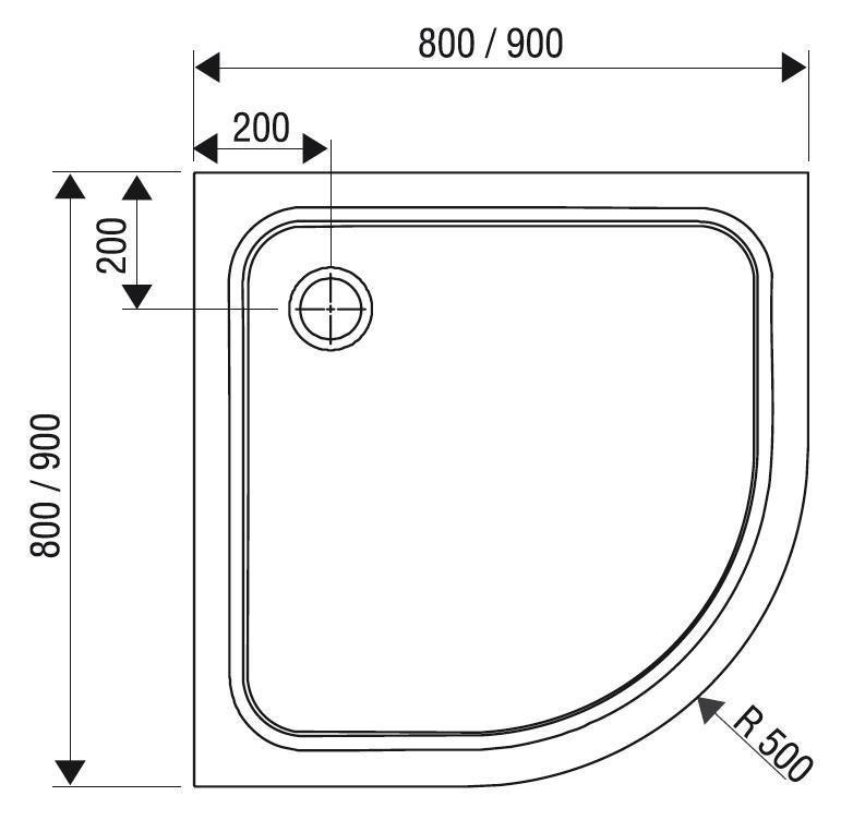Sprchová vanička čtvrtkruhová ELIPSO PRO-90 Ravak CHROME, bílá 2