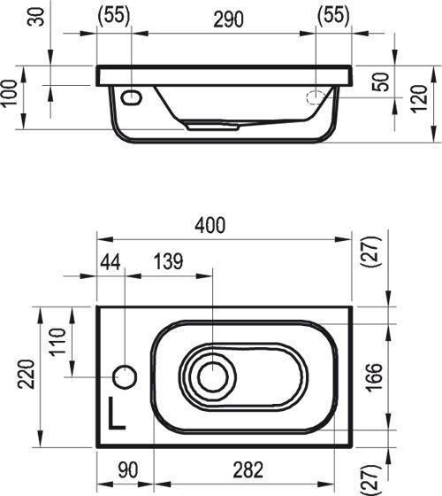 Umývátko CHROME R Ravak pravé, s otvory, bílá 2