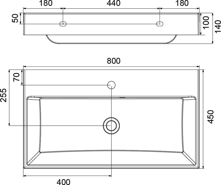 Umyvadlo 80 x 45 cm Ravak NATURAL 800, bez přepadu, bílá 3
