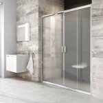 Sprchové dveře posuvné čtyřdílné BLDP4-120 Transparent Ravak BLIX, bílá