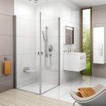 Sprchové dveře CRV1-90 se vstupem z rohu Transparent Ravak CHROME, bílá