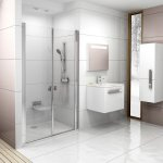 Sprchové dveře dvoudílné CSDL2-100 Transparent Ravak CHROME, bílá