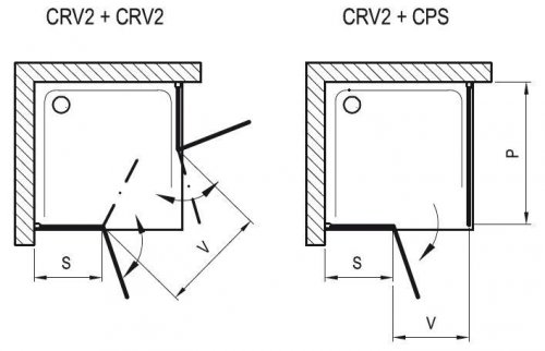 Sprchové dveře dvoudílné CRV2-80 se vstupem z rohu Transparent Ravak CHROME, bílá preview